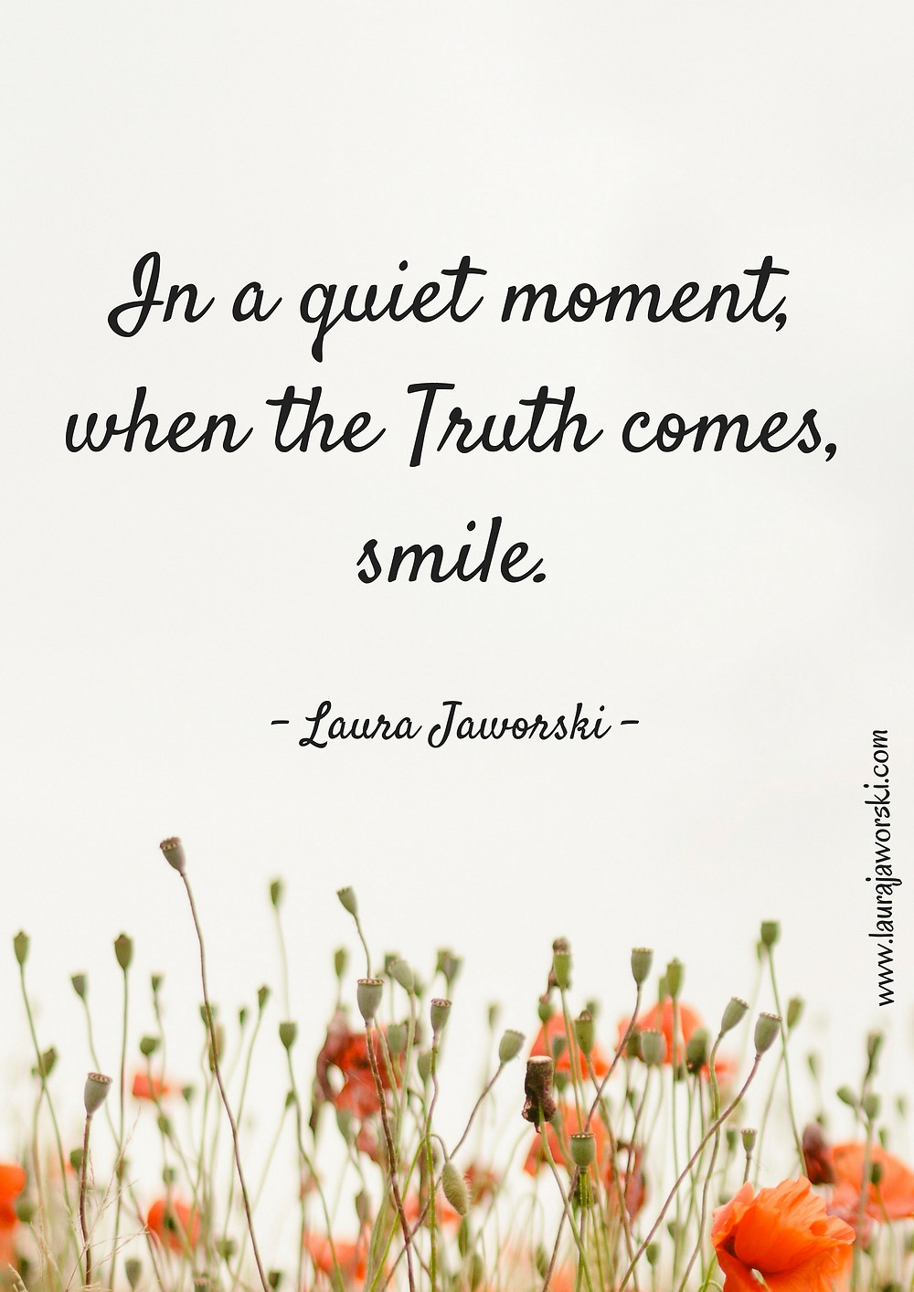 """In a quiet moment, when the Truth comes, smile."" ~ Laura Jaworski"