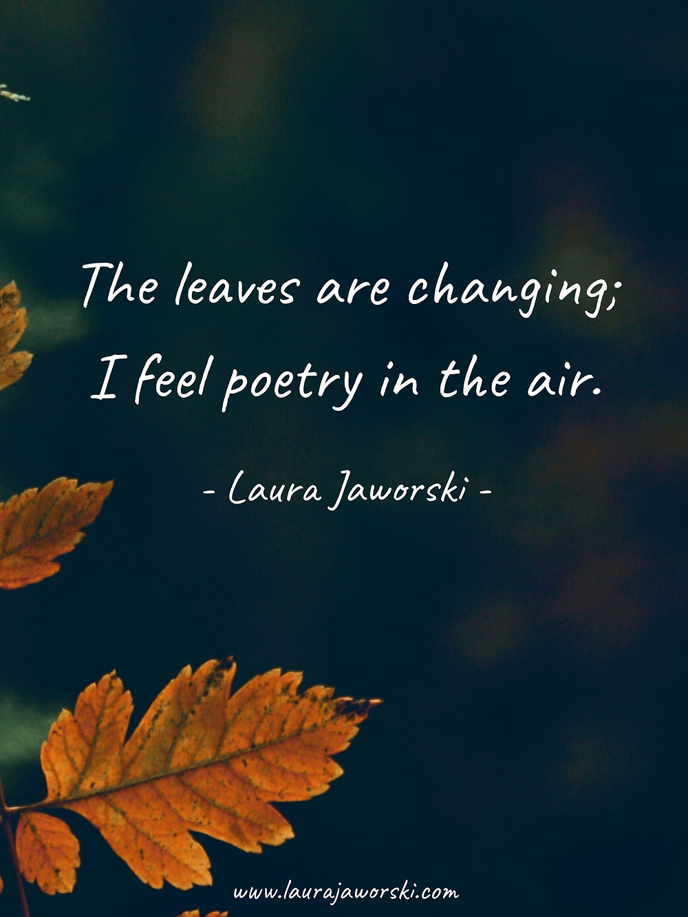 """""""The leaves are changing; I feel poetry in the air."""" ~ Laura Jaworski"""