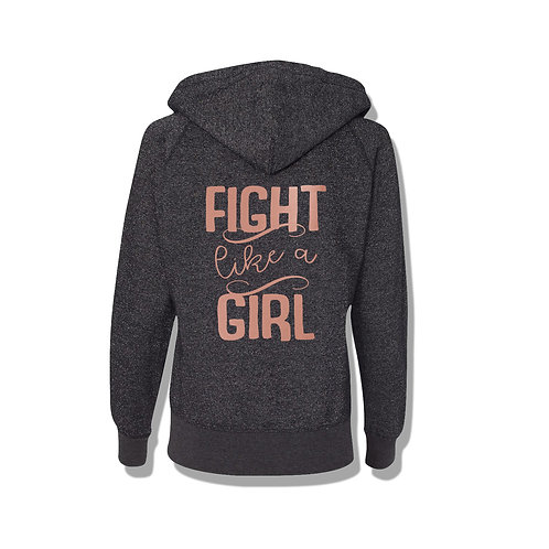 Fight Like A Girl Womens Zip Up Glitter Hoodie