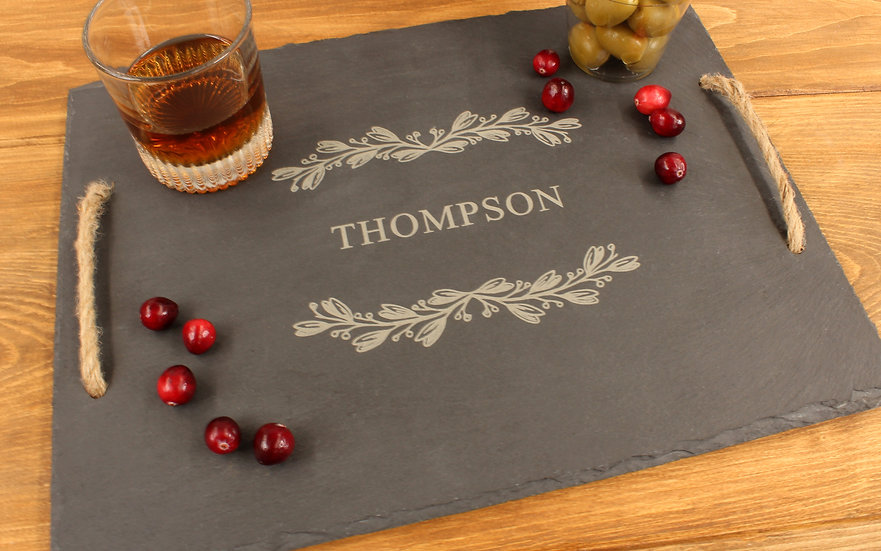 Personalized Farmhouse Slate Serving Tray