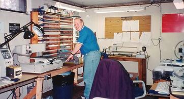 Tom Dudek in the early days of Bauman Engraving