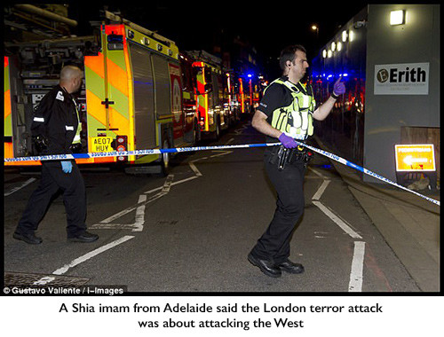 A Shia imam from Adelaide said the London terror attack was about attacking the West
