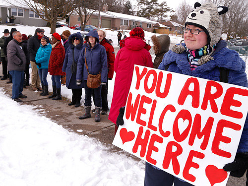 Supporters show their solidarity with a local Muslim community in Peterborough, Ont., following the fatal attack on the Centre Culturel Islamique de Québec in Quebec City on Jan. 29, 2017.