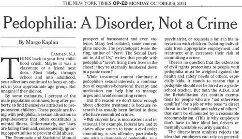 Pedophilia: A Disorder, Not a Crime
