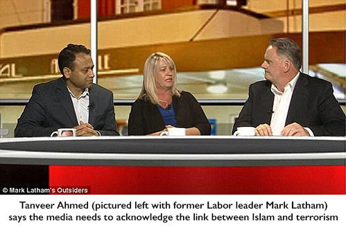 Tanveer Ahmed (pictured left with former Labor leader Mark Latham) says the media needs to acknowledge the link between Islam and terrorism