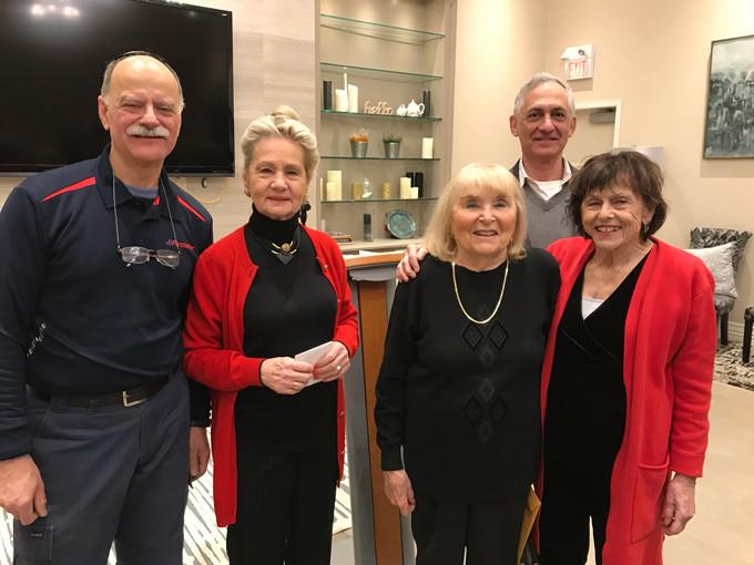 L-R: Perry Davis, Goldi Steiner, Sally Zerker, Irving Weisdorf, Doris Epstein