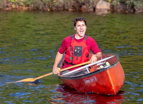 Trudeau in a canoe