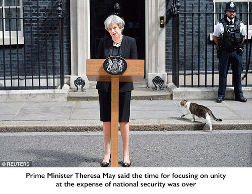 rime Minister Theresa May said the time for focusing on unity at the expense of national security was over