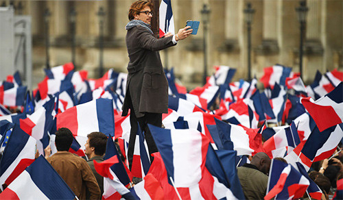 Supporters of French President Macron celebrate his victory