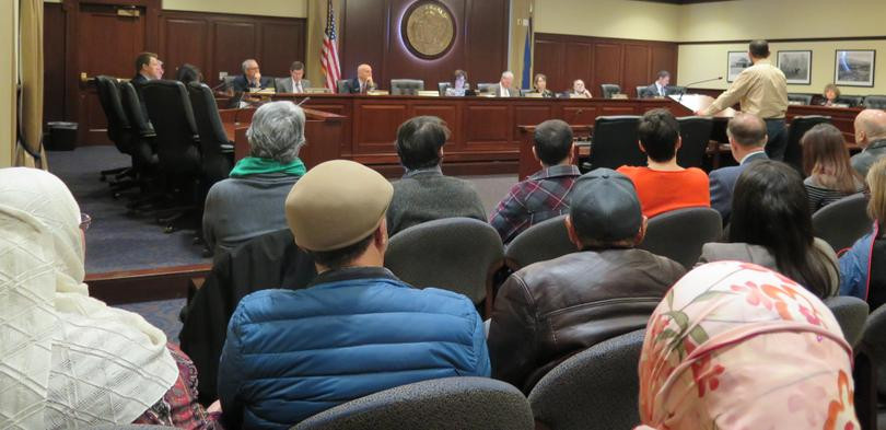 "The House State Affairs Committee hears testimony on HB 419, Rep. Eric Redman's anti-Sharia law bill, at a hearing on Thursday, Feb. 15, 2018 at the Idaho state Capitol. The committee approved the bill with just two ""no"" votes, sending it to the full House."