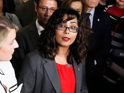 Liberal MP Iqra Khalid makes an announcement about an anti-Islamophobia motion on Parliament Hill on Feb. 15, 2017