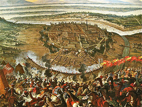 """The Islamic Umayyad dynasty initiated the invasion of Spain; the Ottoman Turks followed to conquer European lands, including Bulgaria, Serbia, Macedonia, Greece, Montenegro, Croatia, Kosovo, Hungary, Albania, Georgia and the Balkans. They nearly occupied Paris and Vienna, as well. Pictured: The painting """"The Turkish Siege of Vienna,"""" in the Vienna Museum."""