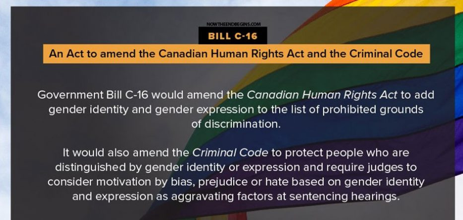 Bill C-16 - An Act to amend the Canadian Human Rights Act and the Criminal Code