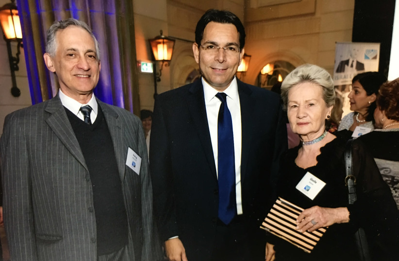 Co-Chairs of Canadians for Israel's Legal Rights, Goldi Steiner (right) and Irving Weisdorf (left), with Israel's UN Ambassador Danny Danon.