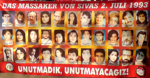 The faces of many of the victims who were murdered in the 1993 Sivas massacre of Alevis are featured on this poster, used in a 2012 commemoration in Germany.