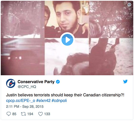 Conservative Party @CPC_HQ - Justin believes terrorists should keep their Canadian citizenship?!