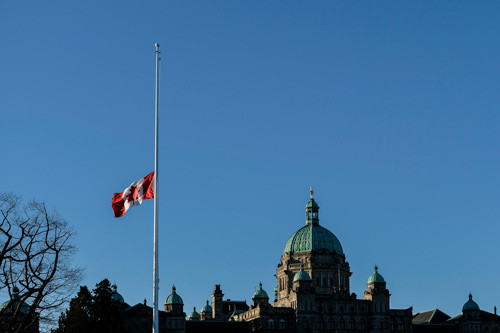 Flag at half mast at Canadian Parliament