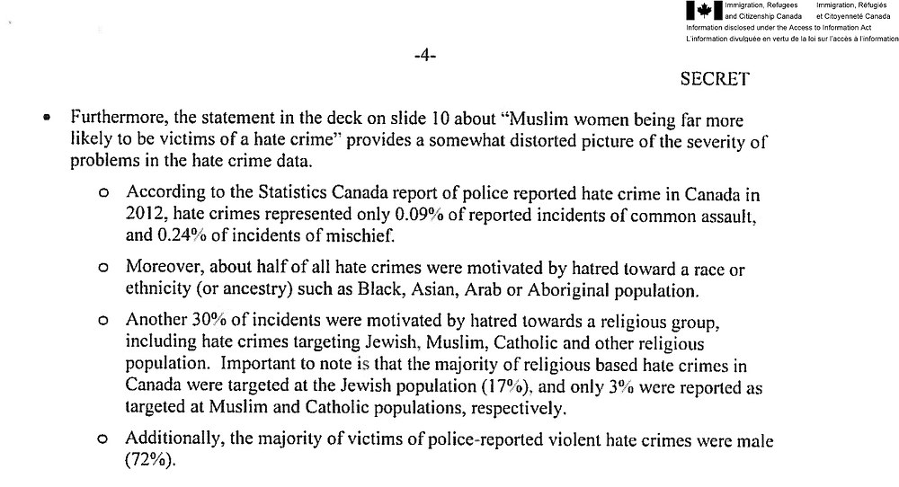 An excerpt from the secret Immigration Department report about a Status of Women slide presentation