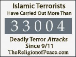 33,000 deadly attacks by Muslim terrorists since 9/11