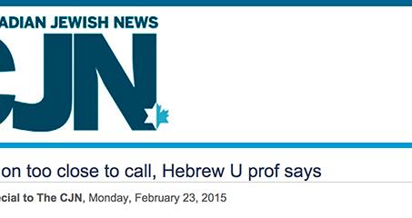 CJN Article On SAG Skype Event - Israeli Election Too Close To Call, Hebrew U Prof Says