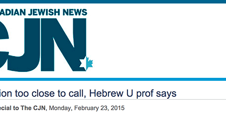 CJN Article On SAG Skype Event - Israeli Election Too Close To Call, Hebrew U Prof Says