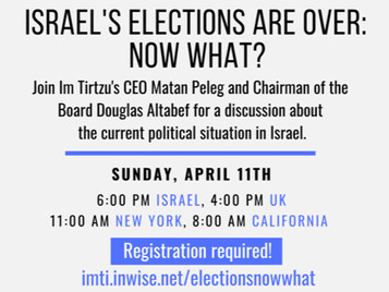 Want to hear more about Israel's post election possibilites? Join us on Sunday!