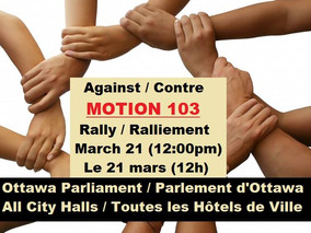 Canadian Coalition of Concerned Citizens Call For Rally Against M-103 on Tuesday March 21, 12pm-2pm,
