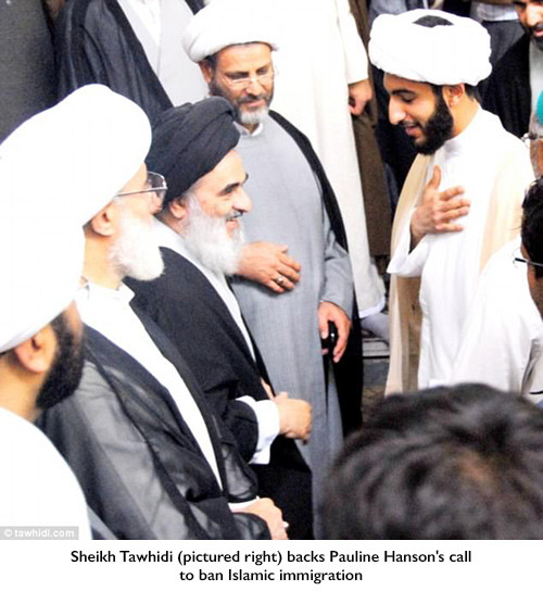 Sheikh Tawhidi (pictured right) backs Pauline Hanson's call to ban Islamic immigration