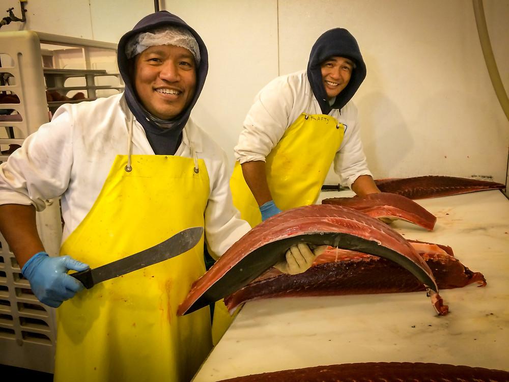 Cutting tuna loins for restaurant wholesale