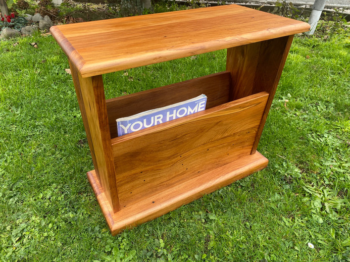 Recycled Rimu Magazine Rack/Side Table 570L 230W 465H $295. Other species, Price on Application.