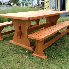 Macrocarpa Outdoor Table 2000x1000 and Bench Seats $2785.
