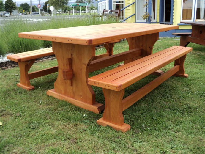 Macrocarpa Outdoor Table 2000x1000 and Bench Seats $3185.