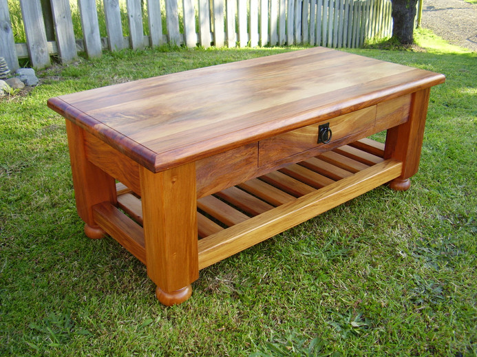Recycled Rimu Coffee Table, Magazine Rack and Drawer 1100x550 430H $885. Other sizes and species, Price on Application.