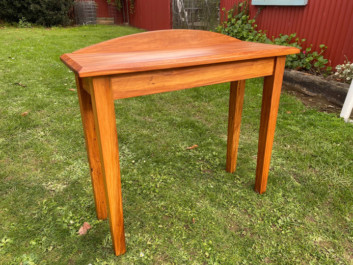 Recycled Rimu Hall Table, Tapered Legs, Arched Upstand. Sizes vary 700-1000L 300D 730H  $545.