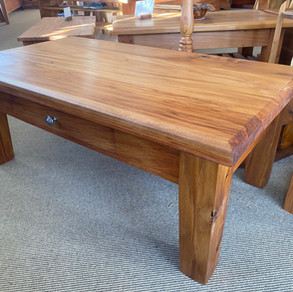 Recycled Rimu Coffee Table with Drawer and Tapered Legs 1100x550 430H $625. Other sizes and species, Price on Application.