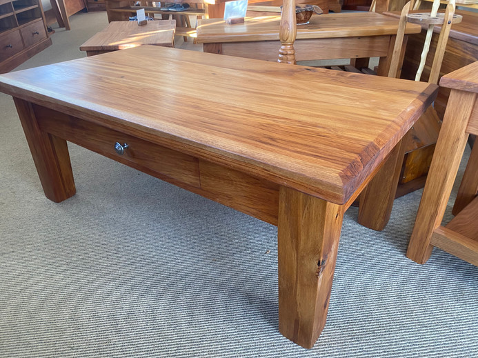 Recycled Rimu Coffee Table with Drawer and Tapered Legs 1100x550 430H $675. Other sizes and species, Price on Application.