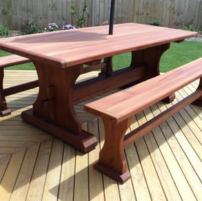 Swamp or Recycled Totara Outdoor Table 2000x1000 and Bench Seats $3285.