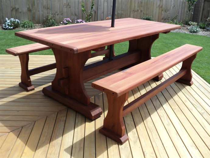 Swamp or Recycled Totara Outdoor Table 2000x1000 and Bench Seats $3785.