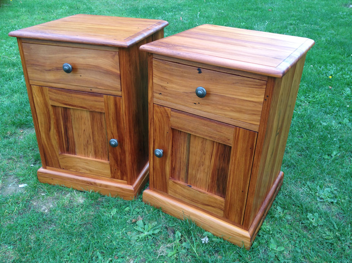 Recycled Rimu Bedside Cabinets Adjustable Shelf Behind Door 600H 430x430 $1495 pair. Other sizes on request.