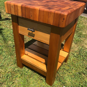 Recycled Kauri End Grain Butcher's Block Drawer and Shelf, locking casters (optional) 600x600 875H $1685. Other species and sizes on request.