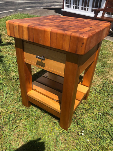 Recycled Kauri End Grain Butcher's Block Drawer and Shelf, locking casters (optional) 600x600 875H $1785. Other species and sizes on request.