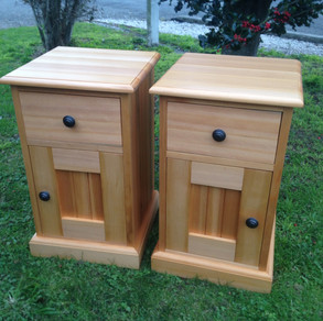 Recycled Kauri Bedside Cabinets Adjustable Shelf Behind Door 600H 430x430 $1395 pair. Other sizes on request.