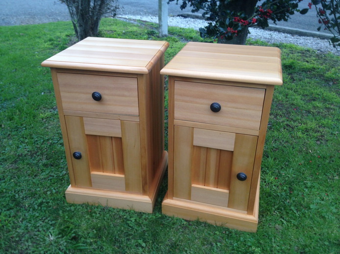 Recycled Kauri Bedside Cabinets Adjustable Shelf Behind Door 600H 430x430 $1495 pair. Other sizes on request.