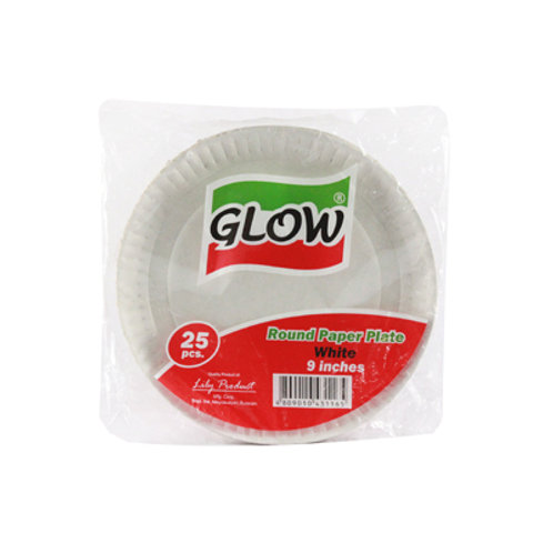 Glow Paper Plate Round Silver 9inches 20s