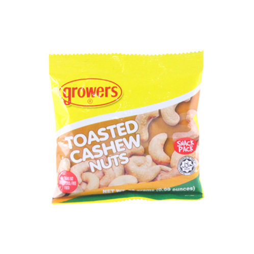 Growers Toasted Cashew Nuts 28g