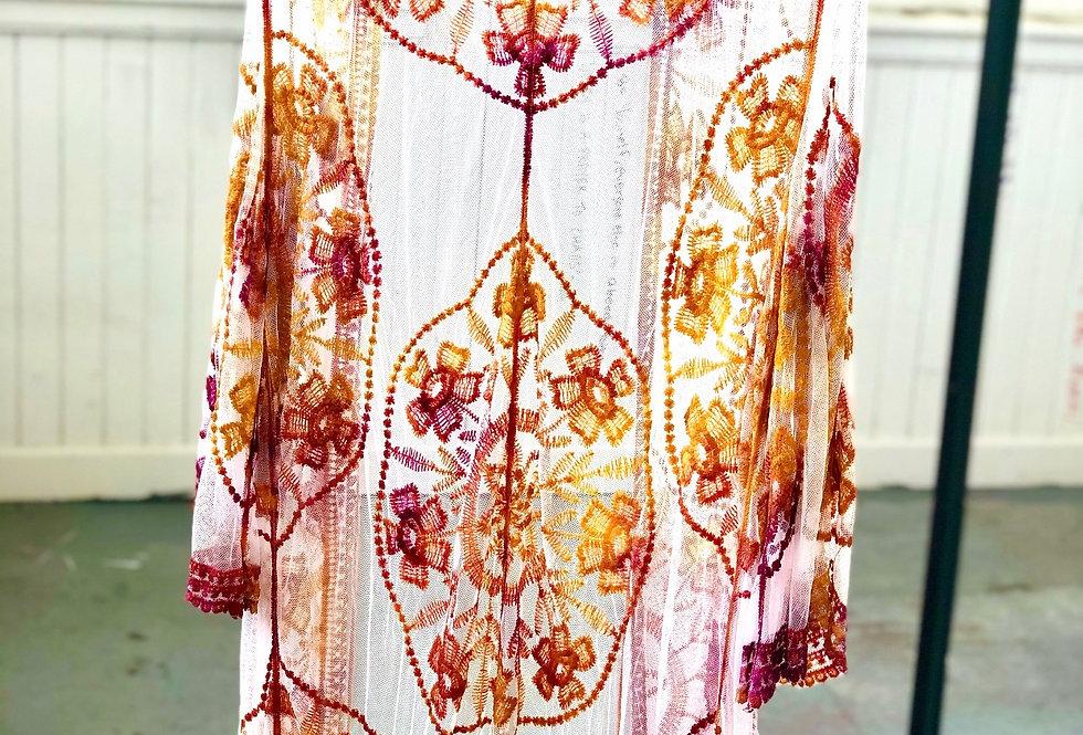 Lace Dream Kimono - Gold/Plum