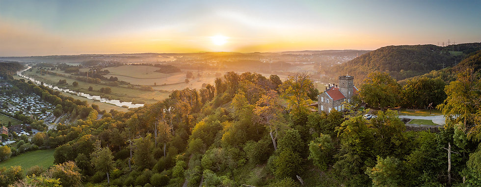 aerial photo of sunrise over ruhr by drone drohnen