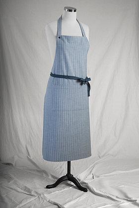 Gray Striped Long Apron C 01
