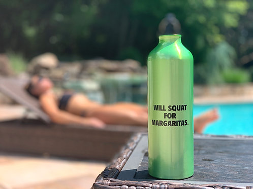 Will Squat For Margaritas water bottle
