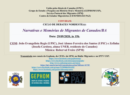 CICLO DE DEBATES: NARRATIAS E MEMÓRIAS DE MIGRANTES DE CANUDOS/BA